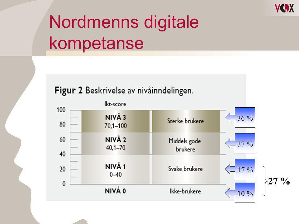 Nivåbeskrivelser av digital kompetanse •Nivå 1: Forholder seg til digital informasjon og tar i bruk enkle digitale verktøy •Nivå 2: Forholder seg aktivt til digital informasjon, digitale tjenester og verktøy.