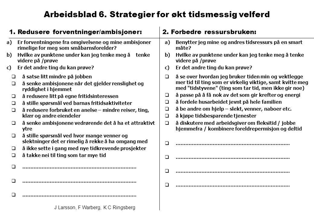 1. Redusere forventninger/ambisjoner: Arbeidsblad 6.