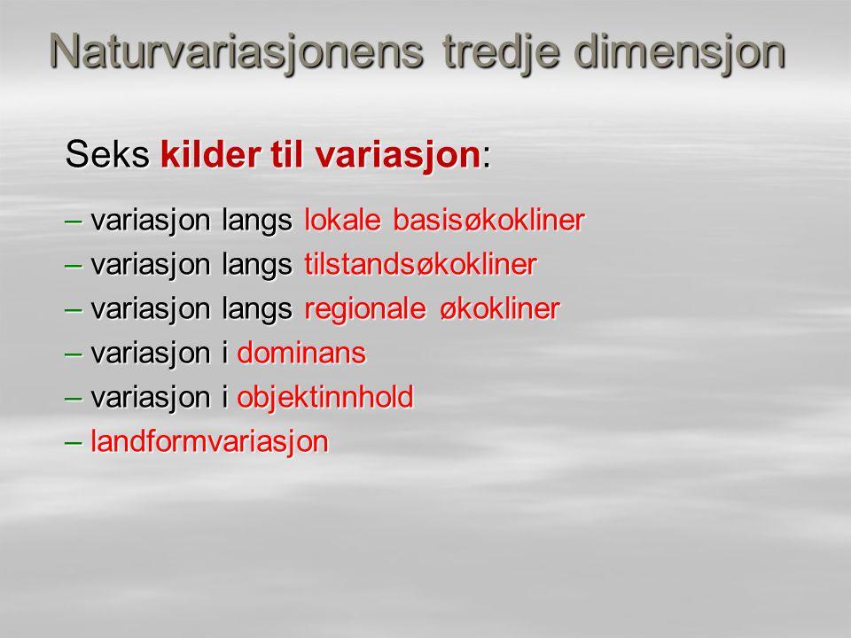 Naturvariasjonens tredje dimensjon Seks kilder til variasjon: – variasjon langs lokale basisøkokliner – variasjon langs tilstandsøkokliner – variasjon