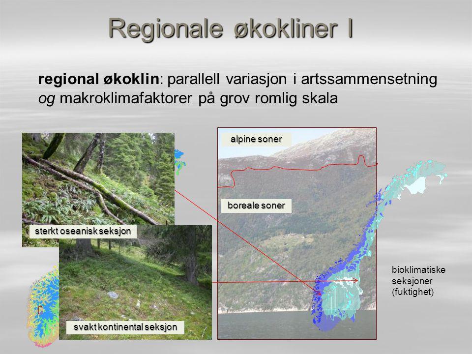 Regionale økokliner I regional økoklin: parallell variasjon i artssammensetning og makroklimafaktorer på grov romlig skala boreale soner alpine soner
