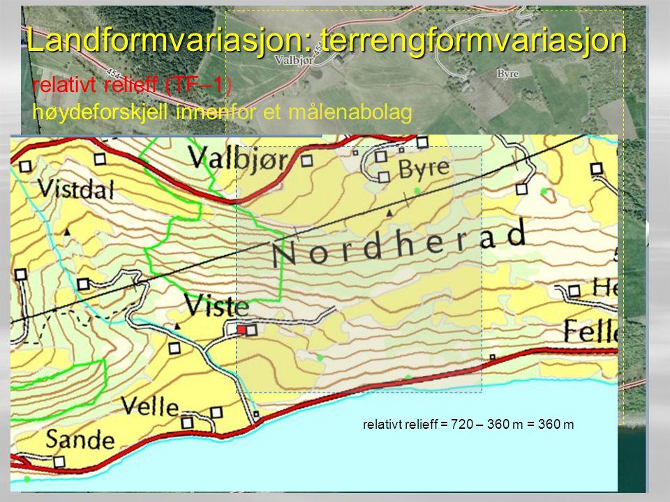 relativt relieff (TF–1) høydeforskjell innenfor et målenabolag Landformvariasjon: terrengformvariasjon relativt relieff = 720 – 360 m = 360 m