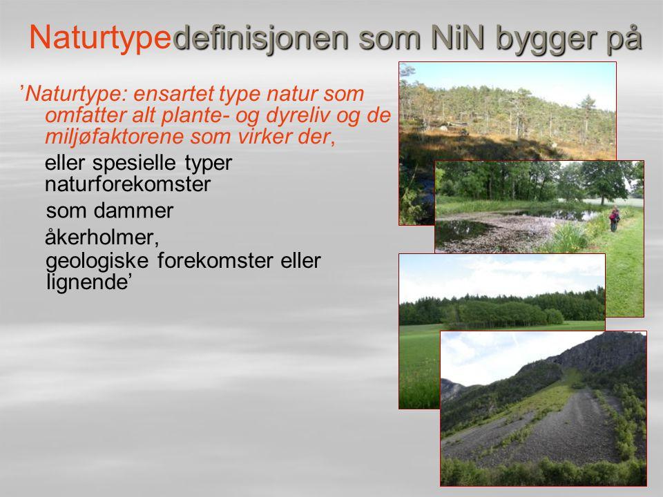 definisjonen som NiN bygger på Naturtypedefinisjonen som NiN bygger på 'Naturtype: ensartet type natur som omfatter alt plante- og dyreliv og de miljø