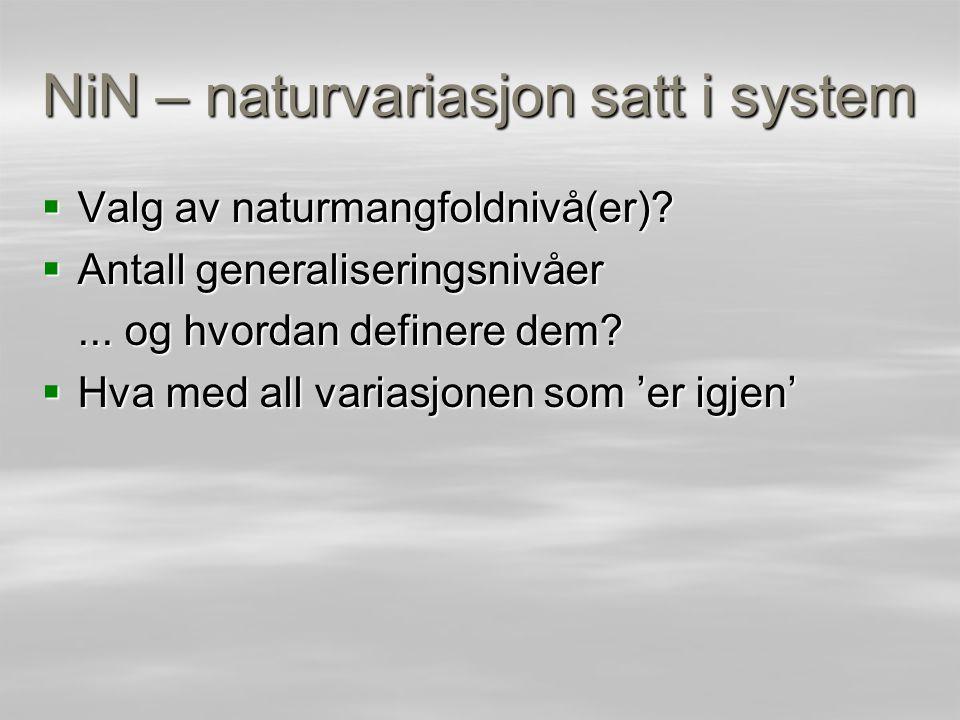NiN – naturvariasjon satt i system  Valg av naturmangfoldnivå(er)?  Antall generaliseringsnivåer... og hvordan definere dem?  Hva med all variasjon