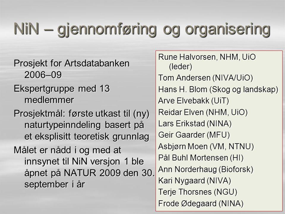 NiN – gjennomføring og organisering Prosjekt for Artsdatabanken 2006–09 Ekspertgruppe med 13 medlemmer Prosjektmål: første utkast til (ny) naturtypein