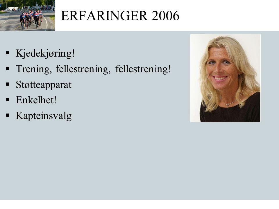 ERFARINGER 2006  Kjedekjøring.  Trening, fellestrening, fellestrening.