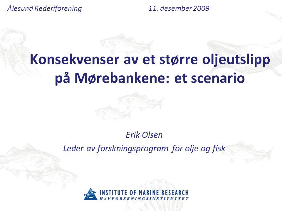 Konsekvenser av et større oljeutslipp på Mørebankene: et scenario Erik Olsen Leder av forskningsprogram for olje og fisk Ålesund Rederiforening11. des