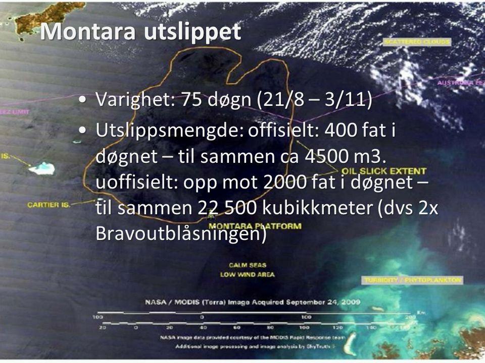 Montara utslippet •Varighet: 75 døgn (21/8 – 3/11) •Utslippsmengde: offisielt: 400 fat i døgnet – til sammen ca 4500 m3. uoffisielt: opp mot 2000 fat