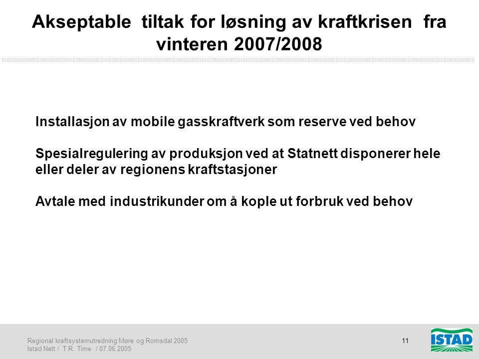 Regional kraftsystemutredning Møre og Romsdal 2005 Istad Nett / T.R. Time / 07.06.2005 11 Akseptable tiltak for løsning av kraftkrisen fra vinteren 20