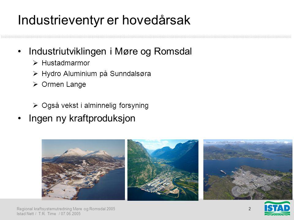 Regional kraftsystemutredning Møre og Romsdal 2005 Istad Nett / T.R. Time / 07.06.2005 2 Industrieventyr er hovedårsak •Industriutviklingen i Møre og