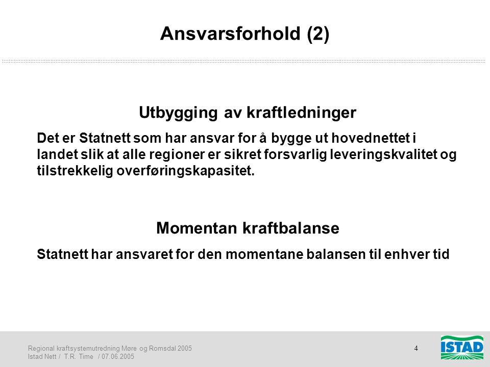 Regional kraftsystemutredning Møre og Romsdal 2005 Istad Nett / T.R. Time / 07.06.2005 4 Ansvarsforhold (2) Utbygging av kraftledninger Det er Statnet