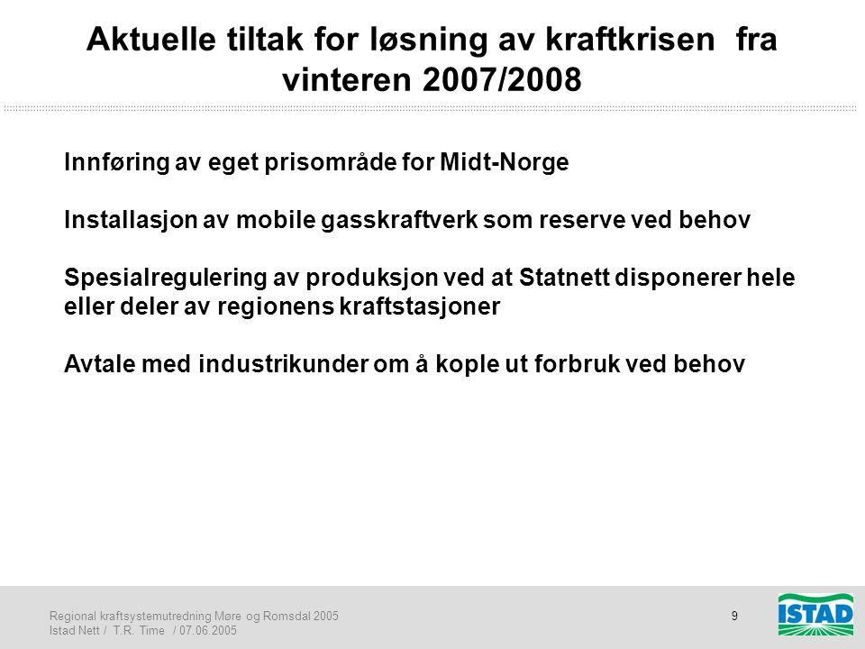 Regional kraftsystemutredning Møre og Romsdal 2005 Istad Nett / T.R. Time / 07.06.2005 9 Aktuelle tiltak for løsning av kraftkrisen fra vinteren 2007/