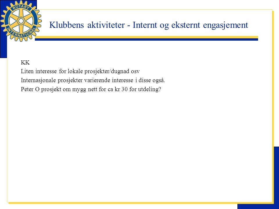 Klubbens aktiviteter - Internt og eksternt engasjement KK Liten interesse for lokale prosjekter/dugnad osv Internasjonale prosjekter varierende intere