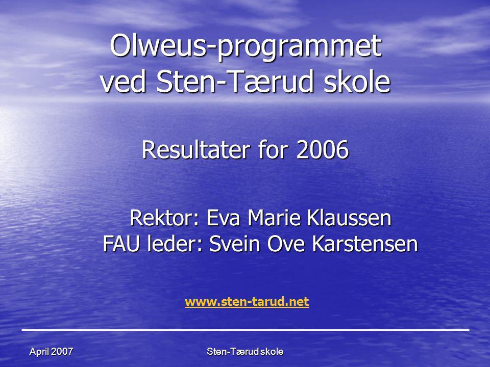 Sten-Tærud skoleApril 2007 Olweus-programmet ved Sten-Tærud skole Resultater for 2006 Rektor: Eva Marie Klaussen FAU leder: Svein Ove Karstensen www.s