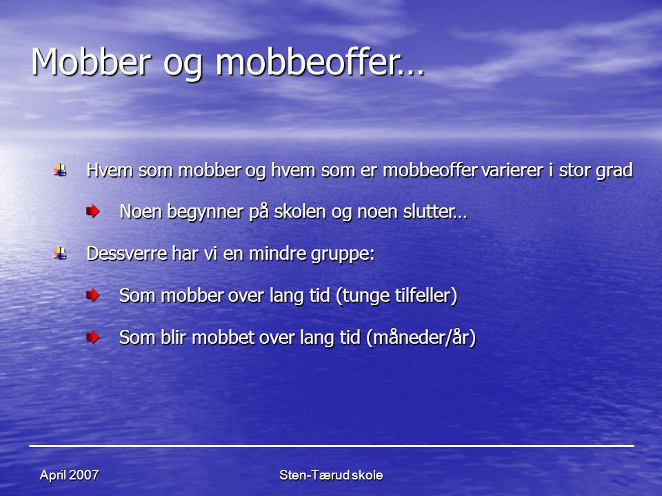 Sten-Tærud skoleApril 2007 Mobber og mobbeoffer… Hvem som mobber og hvem som er mobbeoffer varierer i stor grad Noen begynner på skolen og noen slutte