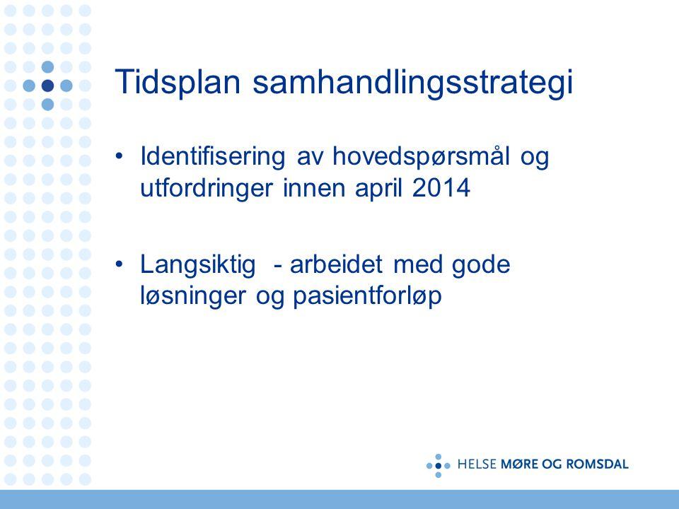 Tidsplan samhandlingsstrategi •Identifisering av hovedspørsmål og utfordringer innen april 2014 •Langsiktig - arbeidet med gode løsninger og pasientforløp