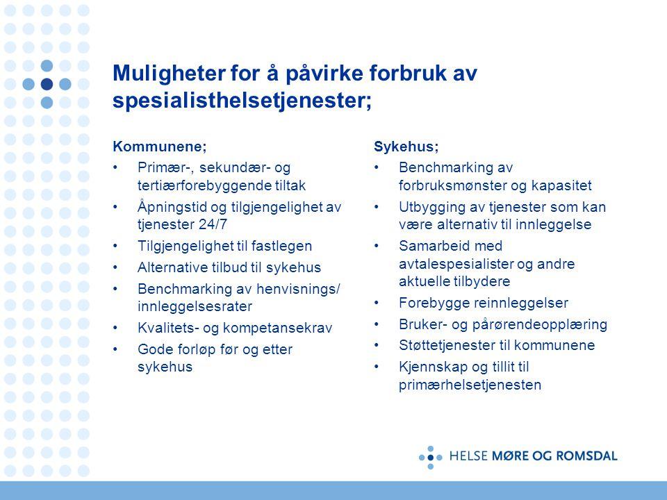 Muligheter for å påvirke forbruk av spesialisthelsetjenester; Kommunene; •Primær-, sekundær- og tertiærforebyggende tiltak •Åpningstid og tilgjengelighet av tjenester 24/7 •Tilgjengelighet til fastlegen •Alternative tilbud til sykehus •Benchmarking av henvisnings/ innleggelsesrater •Kvalitets- og kompetansekrav •Gode forløp før og etter sykehus Sykehus; • Benchmarking av forbruksmønster og kapasitet • Utbygging av tjenester som kan være alternativ til innleggelse • Samarbeid med avtalespesialister og andre aktuelle tilbydere • Forebygge reinnleggelser • Bruker- og pårørendeopplæring • Støttetjenester til kommunene • Kjennskap og tillit til primærhelsetjenesten