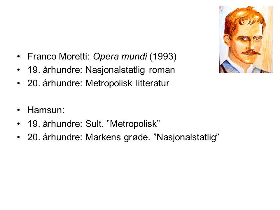 •Franco Moretti: Opera mundi (1993) •19. århundre: Nasjonalstatlig roman •20.