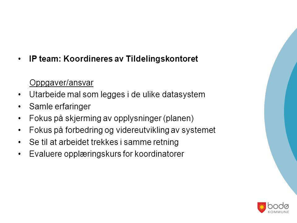 •IP team: Koordineres av Tildelingskontoret Oppgaver/ansvar •Utarbeide mal som legges i de ulike datasystem •Samle erfaringer •Fokus på skjerming av o