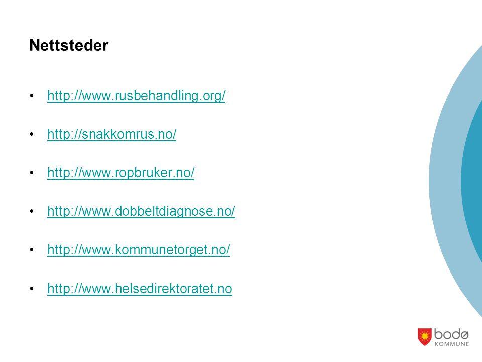 Nettsteder •http://www.rusbehandling.org/http://www.rusbehandling.org/ •http://snakkomrus.no/http://snakkomrus.no/ •http://www.ropbruker.no/http://www.ropbruker.no/ •http://www.dobbeltdiagnose.no/http://www.dobbeltdiagnose.no/ •http://www.kommunetorget.no/http://www.kommunetorget.no/ •http://www.helsedirektoratet.nohttp://www.helsedirektoratet.no