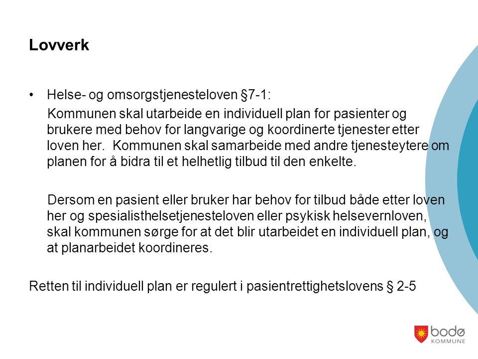 Lovverk •Helse- og omsorgstjenesteloven §7-1: Kommunen skal utarbeide en individuell plan for pasienter og brukere med behov for langvarige og koordinerte tjenester etter loven her.