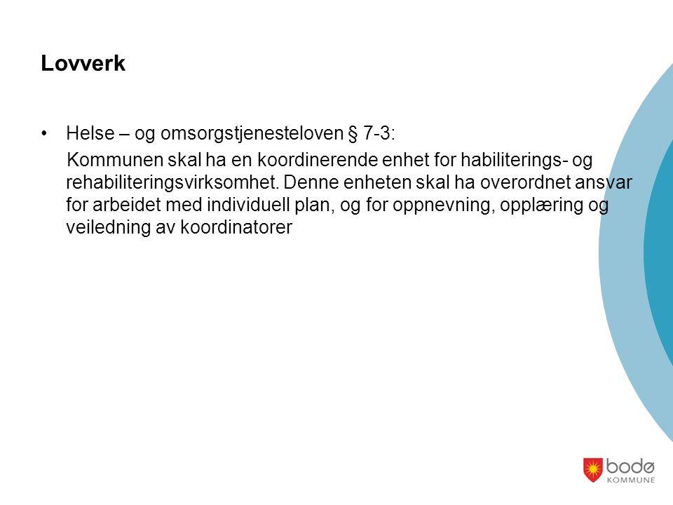 Individuell plan - Organisering i Bodø kommune •Tildelingskontoret er systemansvarlig •Oppgaver /ansvar •Fatter vedtak om IP og plasserer koordinatoransvaret •Ha oversikt over vedtak, planer og koordinatorer •Ha ansvar for opplæring og kurs for koordinatorer •Veilede virksomhetslederne