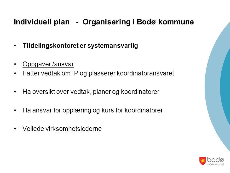 Individuell plan - Organisering i Bodø kommune •Tildelingskontoret er systemansvarlig •Oppgaver /ansvar •Fatter vedtak om IP og plasserer koordinatora