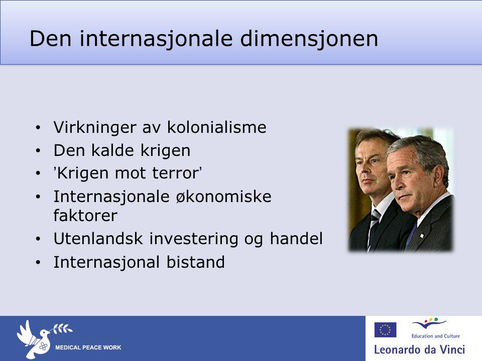 Den internasjonale dimensjonen • Virkninger av kolonialisme • Den kalde krigen • 'Krigen mot terror' • Internasjonale økonomiske faktorer • Utenlandsk investering og handel • Internasjonal bistand