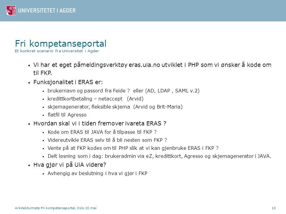 Arkitekturmøte Fri kompetanseportal, Oslo 20 mai10 • Vi har et eget påmeldingsverktøy eras.uia.no utviklet i PHP som vi ønsker å kode om til FKP.
