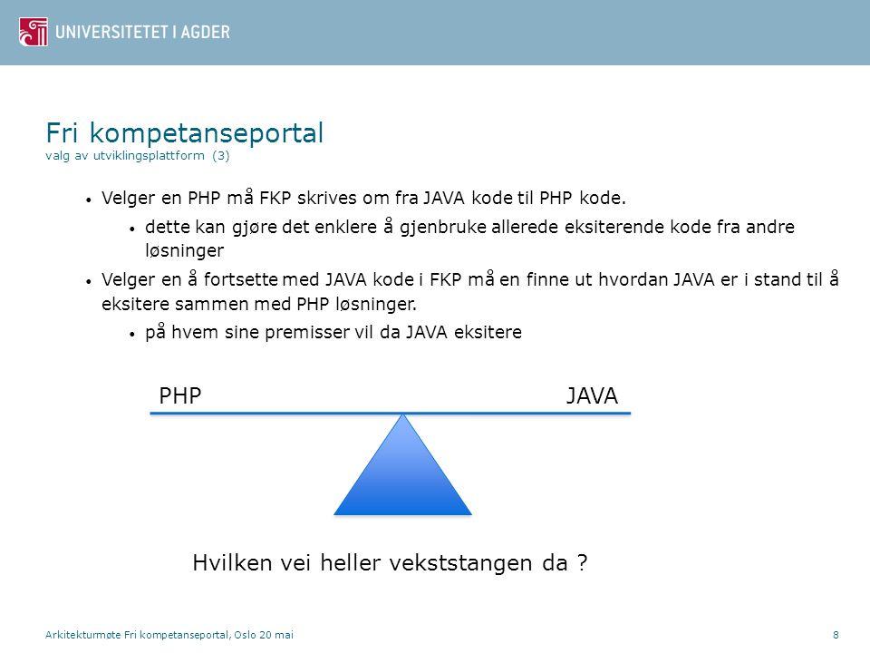 Arkitekturmøte Fri kompetanseportal, Oslo 20 mai9 • Det vil ta tid og medføre kostnader å kode FKP om til PHP • hva koster dette og hvor lang tid tar det .