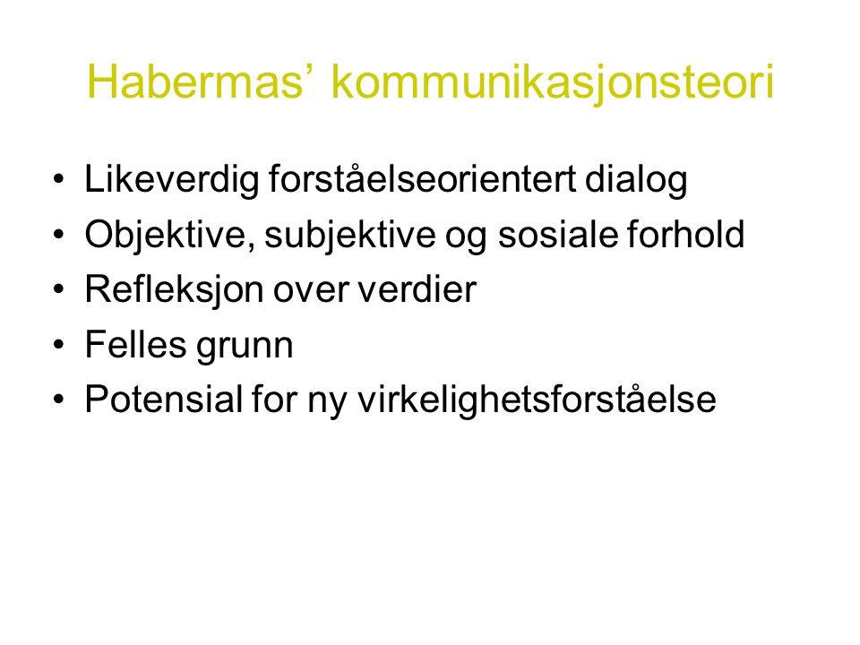 Habermas' kommunikasjonsteori •Likeverdig forståelseorientert dialog •Objektive, subjektive og sosiale forhold •Refleksjon over verdier •Felles grunn