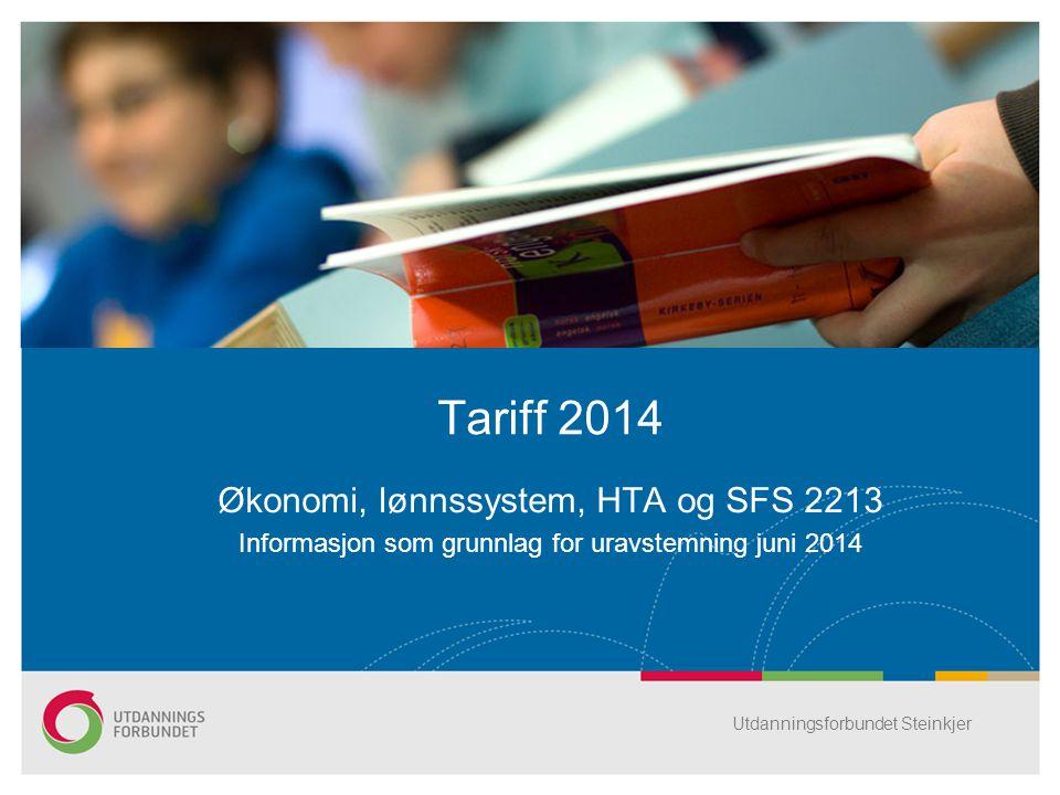 Økonomi, lønnssystem, HTA og SFS 2213 Informasjon som grunnlag for uravstemning juni 2014 Tariff 2014 Utdanningsforbundet Steinkjer