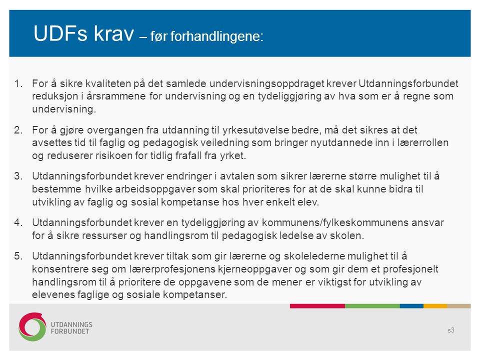 UDFs krav – før forhandlingene: s3 1.For å sikre kvaliteten på det samlede undervisningsoppdraget krever Utdanningsforbundet reduksjon i årsrammene for undervisning og en tydeliggjøring av hva som er å regne som undervisning.