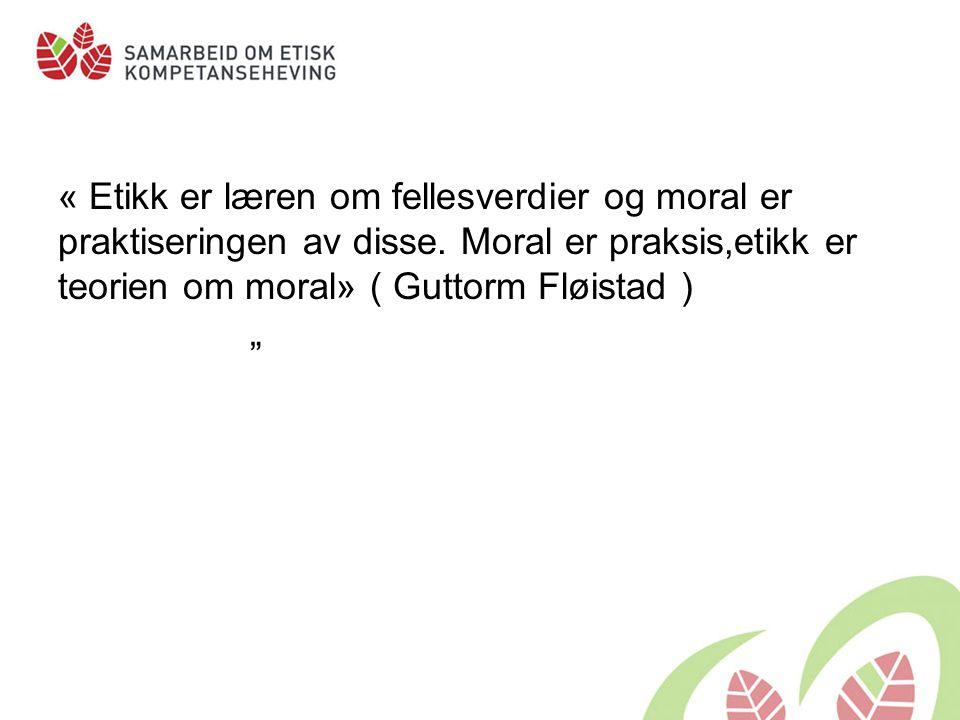 """« Etikk er læren om fellesverdier og moral er praktiseringen av disse. Moral er praksis,etikk er teorien om moral» ( Guttorm Fløistad ) """""""