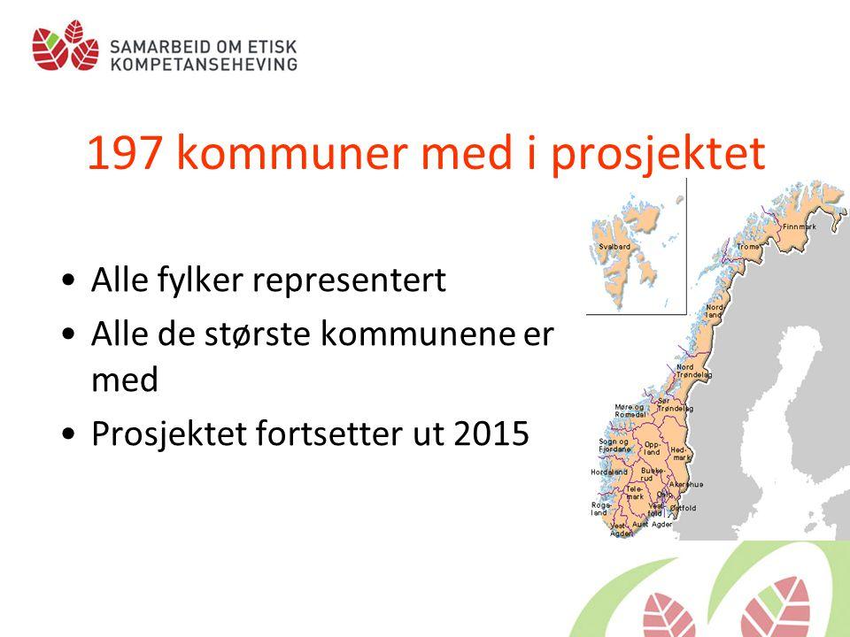 197 kommuner med i prosjektet •Alle fylker representert •Alle de største kommunene er med •Prosjektet fortsetter ut 2015