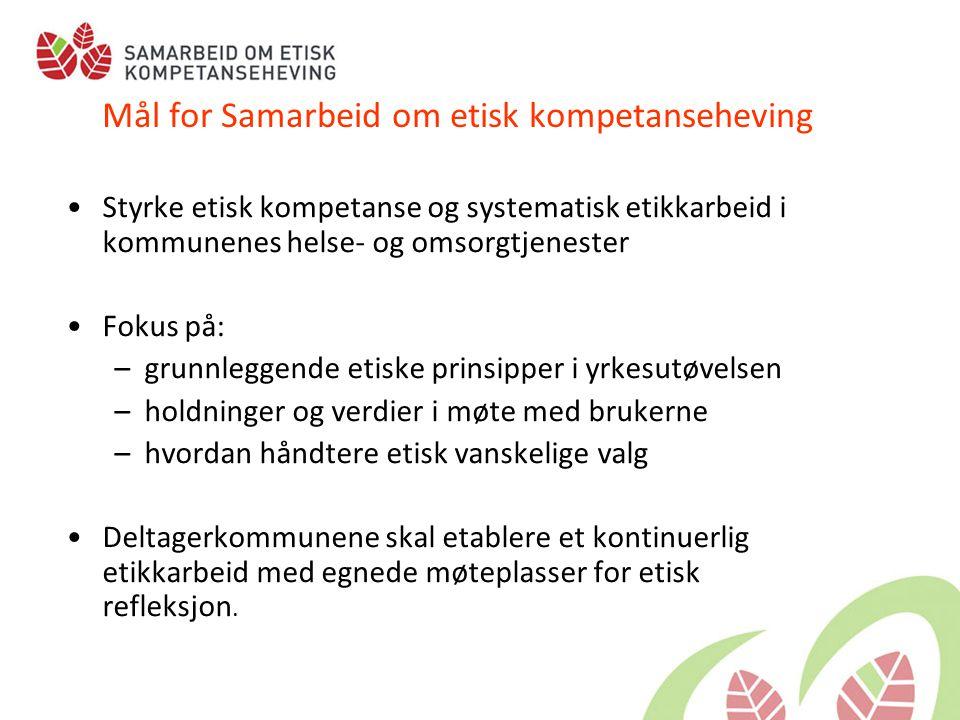 Mål for Samarbeid om etisk kompetanseheving •Styrke etisk kompetanse og systematisk etikkarbeid i kommunenes helse- og omsorgtjenester •Fokus på: –gru