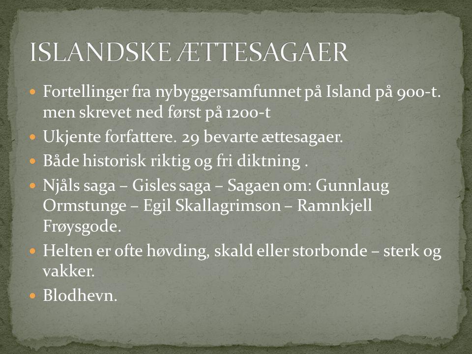 Fortellinger fra nybyggersamfunnet på Island på 900-t.