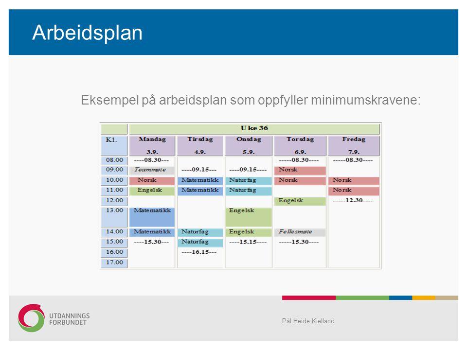 Arbeidsplan Eksempel på arbeidsplan som oppfyller minimumskravene: Pål Heide Kielland