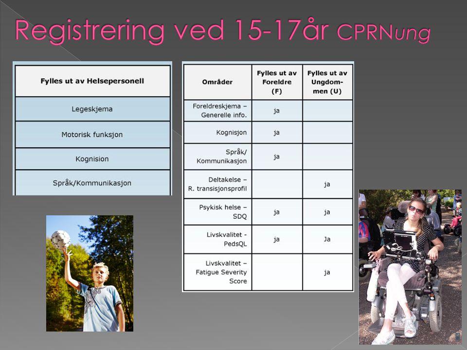  Felles samtykkeerklæring fra 2012  Årlig samkjøring av registreringene i CPRN og CPOP  Øke dekningsgraden på registreringene  Fagdager, kurs, workshops, nettverkssamlinger  Utvikle nasjonale retningslinjer for oppfølging i samarbeid med CP- foreningen  Nettbaserte registreringer  Livsløpsperspektiv – CPRNung og CPOP voksen  Utvikle forskningsprosjekter i samarbeid med NTNU, UiO og CPUP