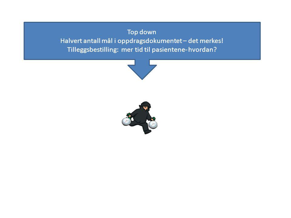 Top down Halvert antall mål i oppdragsdokumentet – det merkes! Tilleggsbestilling: mer tid til pasientene- hvordan?