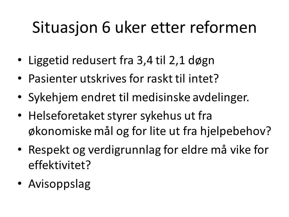 Situasjon 6 uker etter reformen • Liggetid redusert fra 3,4 til 2,1 døgn • Pasienter utskrives for raskt til intet? • Sykehjem endret til medisinske a