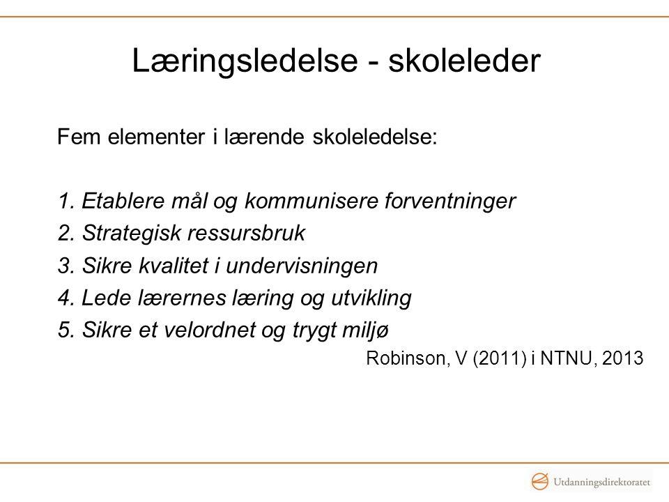 Kjennetegn på læringsledelse: 1.Evner å utvikle felles mål sammen med lærerne 2.