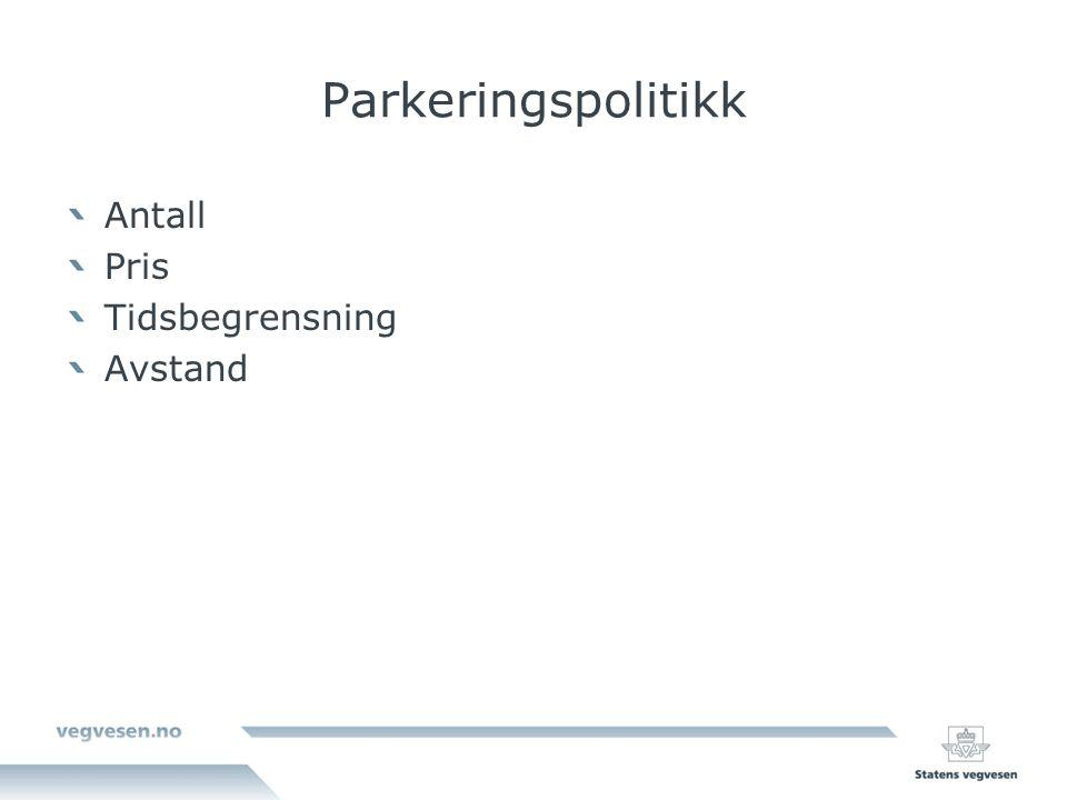 Parkeringspolitikk Antall Pris Tidsbegrensning Avstand