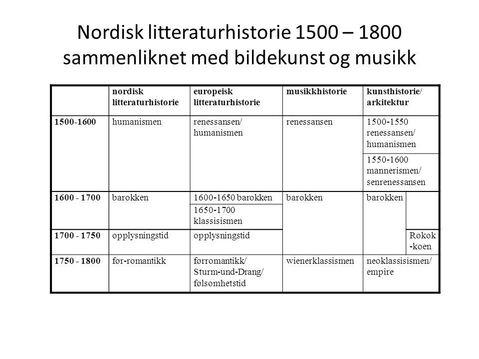 Nordisk litteraturhistorie 1500 – 1800 sammenliknet med bildekunst og musikk nordisk litteraturhistorie europeisk litteraturhistorie musikkhistoriekun
