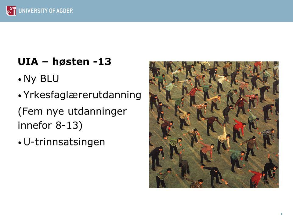 UIA – høsten -13 • Ny BLU • Yrkesfaglærerutdanning (Fem nye utdanninger innefor 8-13) • U-trinnsatsingen 1