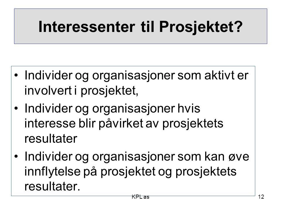 Project stakeholders •Individer og organisasjoner som aktivt er involvert i prosjektet, •Individer og organisasjoner hvis interesse blir påvirket av p