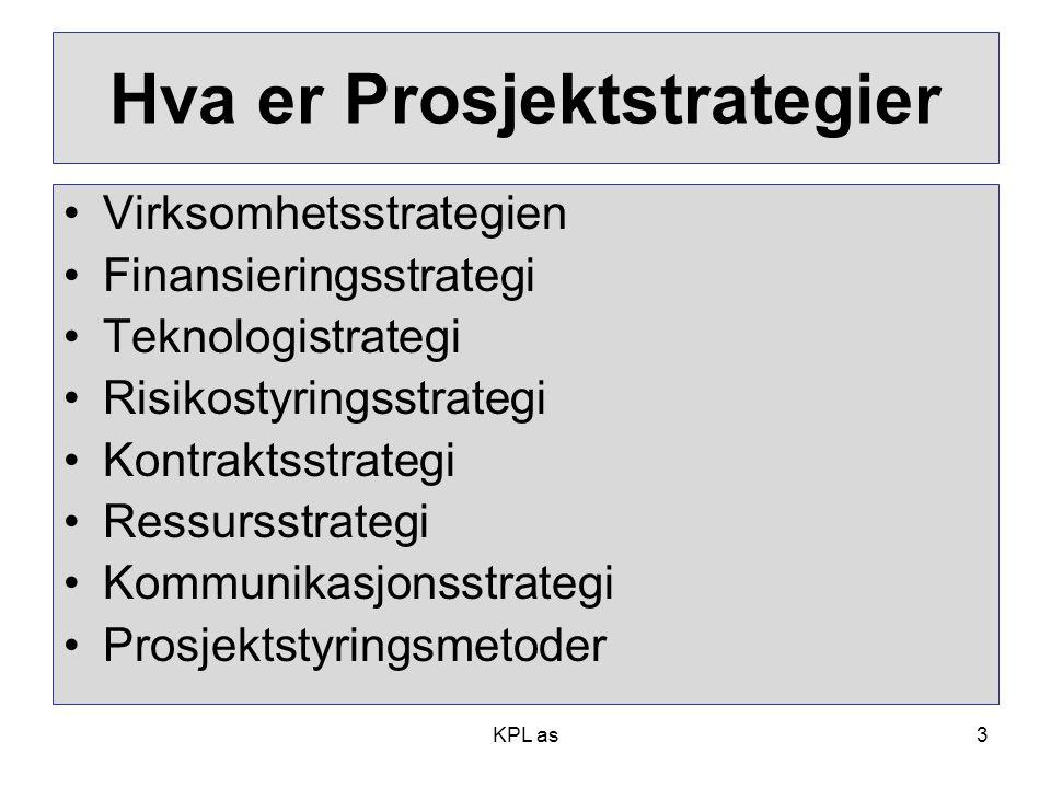 Hva er Prosjektstrategier •Virksomhetsstrategien •Finansieringsstrategi •Teknologistrategi •Risikostyringsstrategi •Kontraktsstrategi •Ressursstrategi