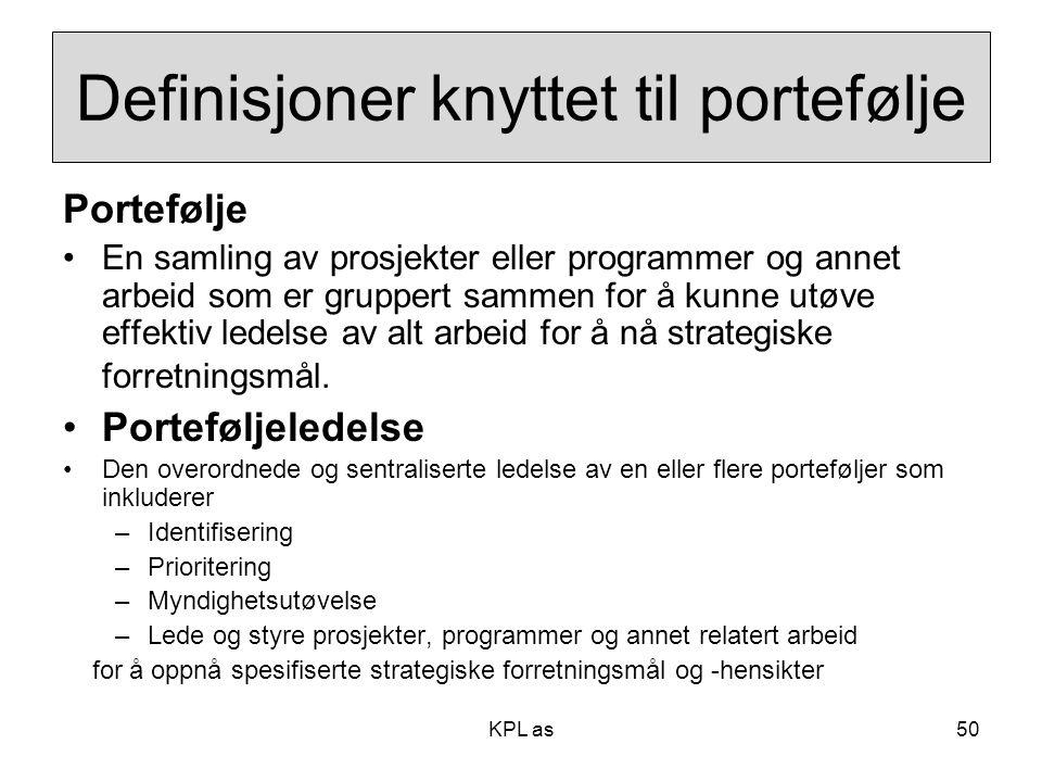 Definisjoner knyttet til portefølje Portefølje •En samling av prosjekter eller programmer og annet arbeid som er gruppert sammen for å kunne utøve eff