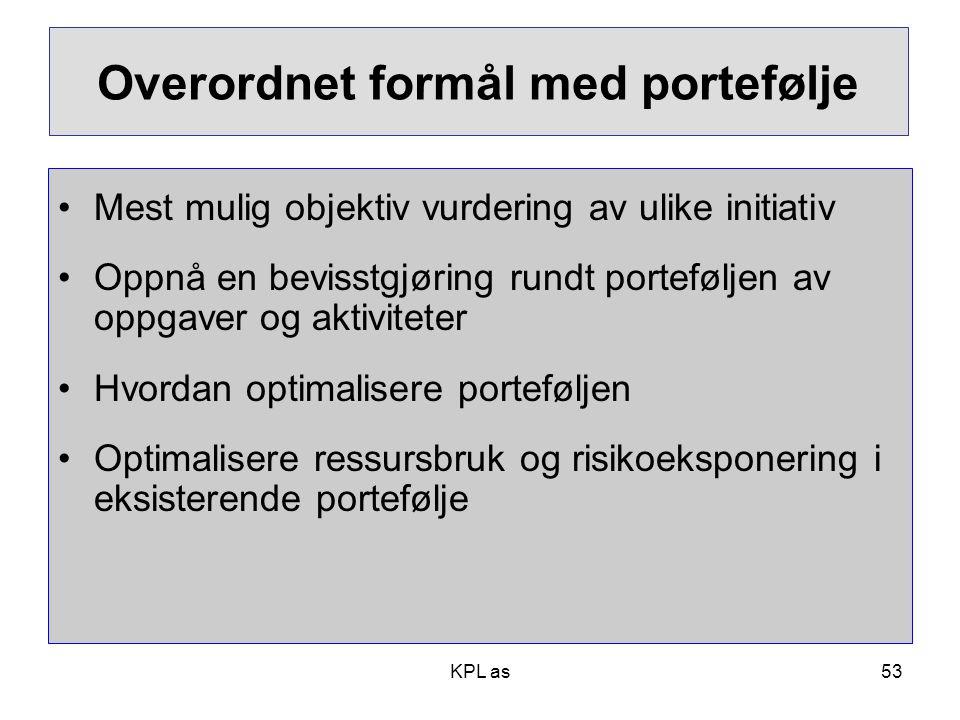 KPL as Overordnet formål med portefølje •Mest mulig objektiv vurdering av ulike initiativ •Oppnå en bevisstgjøring rundt porteføljen av oppgaver og ak