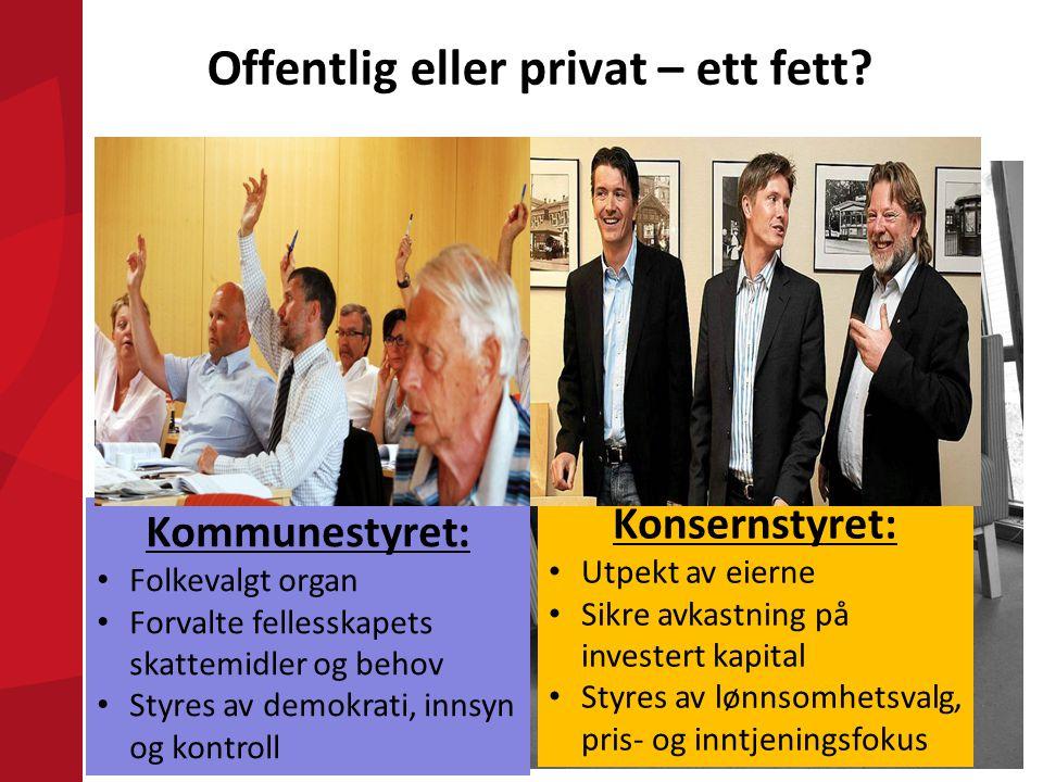 Kommunestyret: • Folkevalgt organ • Forvalte fellesskapets skattemidler og behov • Styres av demokrati, innsyn og kontroll Konsernstyret: • Utpekt av