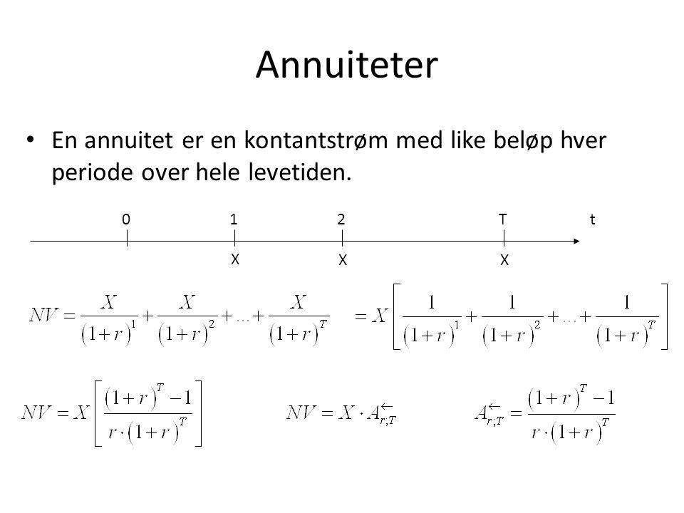 Annuiteter • En annuitet er en kontantstrøm med like beløp hver periode over hele levetiden. t0 1 X 2 X T X